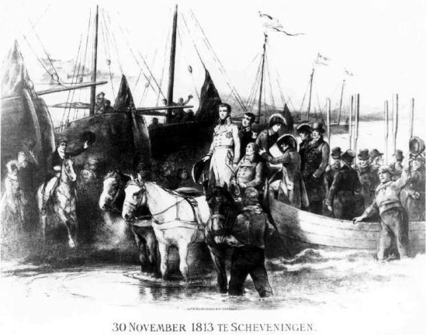 Aankomst van Willem 1 op het strand in Scheveningen.  Door Johannes Jacobus  Mesker 1843-1890.