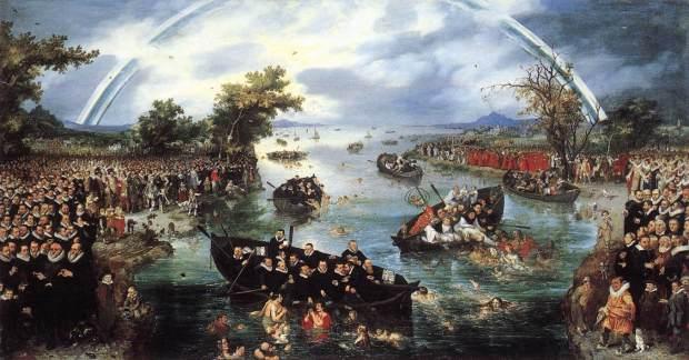 De schilder Adriaen van de Venne heeft in 1614 dit schilderij gemaakt. Je ziet aan de linkerkant de Protestanten en aan de rechterkant de Katholieken. De bootjes 'vissen' mensen uit het water. Het bootje linksvoor is een Protestantse boot, het bootje rechts een Katholieke boot. Oorspronkelijk stonden de mensen in het water bij het Katholieke bootje er niet op, de schilder heeft dat er later bijgeschilderd.  Je kunt goed zien aan het schilderij aan welke kant de schilder stond, namelijk de Protestante kant. De linkerkant ziet er beter uit, veel mensen, heldere lucht, bloeiende bomen. Als je naar de rechterkant kijkt ziet het er een stuk minder vrolijk uit, minder mensen, donkere lucht, dorre bomen.  De regenboog op het schilderij is een teken van vrede, maar je ziet dat de regenboog aan de bovenkant onderbroken wordt. Op het moment van schilderen was er namelijk ook nog geen godsdienstvrijheid.