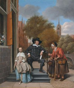 Schilderij van Jan Steen, laat het verschil tussen rijkdom en armoede zien in de Gouden Eeuw