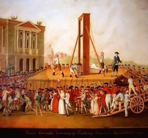 De executie van Marie Antoinette. Ze wordt op 16 oktober 1793 onthoofd onder de guillotine.
