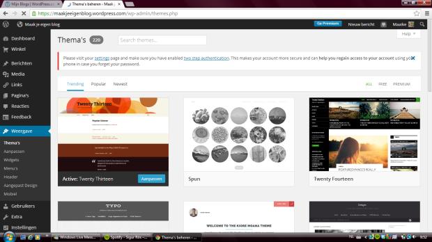 Hier kun je verschillende thema's uitkiezen die het uiterlijk van je blog bepalen.