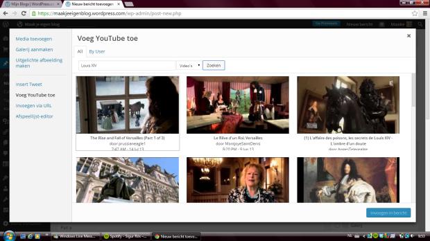 Klik op media toevoegen en dan links op 'Voeg YouTube' toe.  Vul de zoekopdracht in om een filmpje te zoeken.  Klik daarna op het filmpje en daarna op de blauwe knop rechts onderaan 'Invoegen in bericht'.