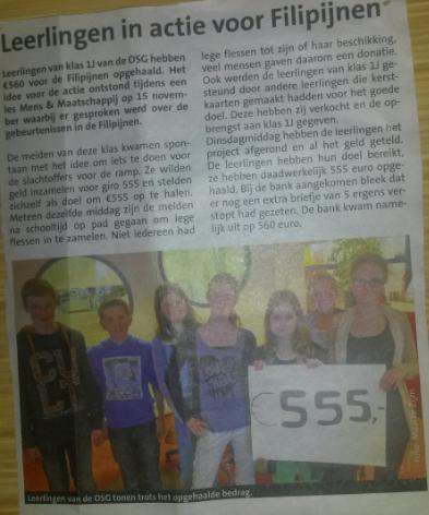 2013 - Leerlingen van klas 1J hebben geld ingezameld voor de Filipijnen. Bron: Texelse Courant , foto en tekst Maaike Zijm