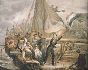 """Scheepsjongen Wijler springt van boord nadat van Speyk had geroepen: """"Berg je billen, jong!""""  J. Eeckhout, 1832"""