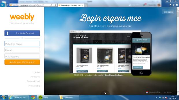 Ga naar www.weebly.com  Dit is het startscherm, hier begin je. Klik op de afbeelding om deze groter te maken