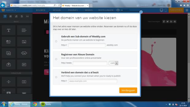 Maak een .weebly.com adres, ga voor de bovenste optie. Klik op de afbeelding om deze groter te maken.