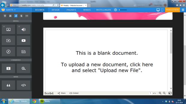Het toevoegen van een word bestand.  Het word document staat er meteen geopend op. Klik op de afbeelding om deze groter te maken.