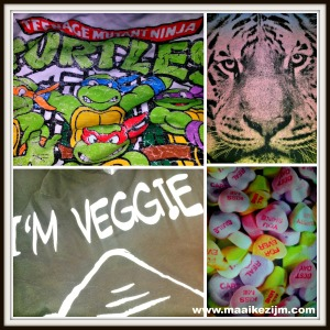 Resultaat van een middag shoppen. Teenage Mutant Ninja Turtles shirt, oversized Tiger shirt, I'm veggie shirt en als topstuk een snoephartjes legging