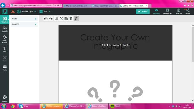 3. Hoe maak je een infographic? Je kunt de content aan de linkerkant toevoegen. Ook kun je de kleuren aanpassen. Als je wilt kun je je eigen afbeelding uploaden.
