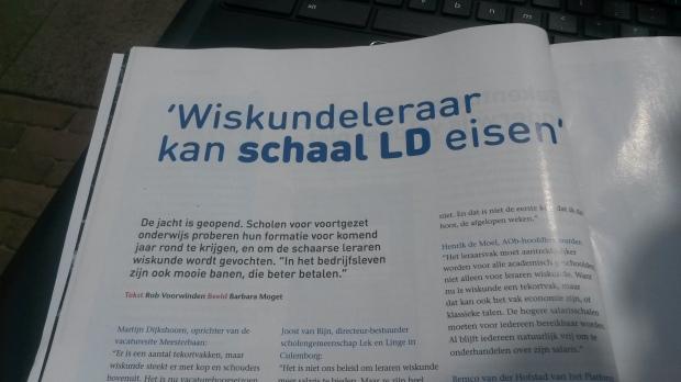 Artikel in het nieuwe AOB tijdschrift. Toch jammer dat ik dan het verkeerde vak gekozen heb..