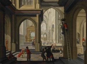 Schilderij van de Beeldenstorm in 1566.  Omdat de attributen in de kerk van waarde waren gingen de mensen voorzichtig te werk, zo konden zij er nog wat aan verdienen als zij dit zouden verkopen!