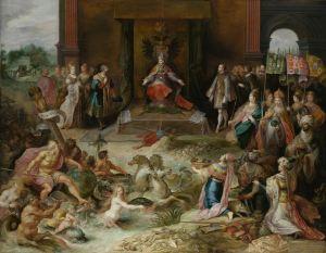 Karel V doet in 1555 afstand van de troon. Rechts zie je de werelddelen symbolisch afgebeeld.  Links zie je Neptunus, hij symboliseert de macht die Karel V had op zee.