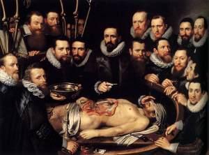 De anatomische les van Dr. Willem van der Meer. Geschilderd door Michiel Jansz van Mierevelt.