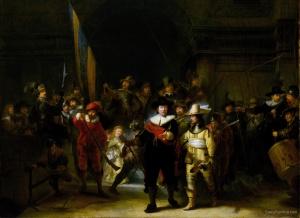 De Nachtwacht van Rembrandt van Rijn. Omdat de schutters vonden dat zij niet herkenbaar afgebeeld waren is het schild rechtsboven met de namen van de schutters geplaatst. Van links naar rechts zie je een ritueel van het schieten op de achtergrond terug.  Ook opvallend is het kleine meisje links op het schilderij. Zij draagt om haar middel een dode kip, met de klauwen omhoog. Dit zou een symbool voor de kloveniers.